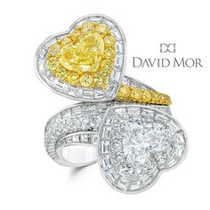 The perfect gift for her! This heart shaped, two-stoned diamond ring features fancy intense yellow diamonds and white mixed diamonds set on Platinum. Affordable Diamond Rings, Unique Diamond Rings, Round Diamond Engagement Rings, Heart Jewelry, Jewelry Gifts, Jewellery, Harry Winston, 4 Diamonds, Yellow Diamonds
