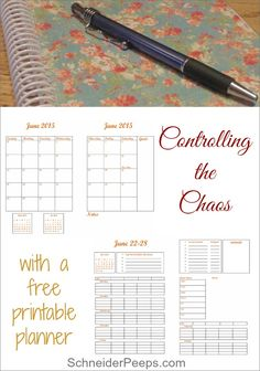 Controlling the chaos is much easier when you have a datebook that works for you. This free printable datebook have everything you need to keep control of the chaos without being overwhelming. There are month at a glace and week at a glance pages. Enough space to keep track o five people, plus a place for the dinner menu, a grocery list and your top five priorities for the week.