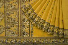 In yellow and blue this Baluchari depicts mytholigical scenes. Indian Sarees, Silk Sarees, Bridal Sarees, Chapter 3, Indian Attire, Saris, Saree Collection, Cotton Saree, Fabric Painting