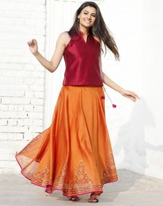 Silk Cotton Printed Ghera Skirt Set