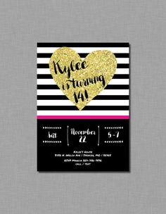 Tween Girl Birthday Party Invitations gold glitter by CoralBalloon