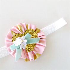 Ruffle Bloom Headband - Glitter Love Heart