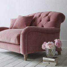 Pink velvet buttoned sofa by Loaf for John Lewis | Design Hunter