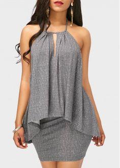 Grey Asymmetric Hem Top and Mini Skirt on sale only US$34.90 now, buy cheap Grey Asymmetric Hem Top and Mini Skirt at liligal.com
