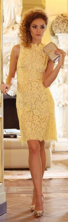 My lovely lace again!!!   Abito In Pizzo Giallo #Dolce & #Gabbana – Shoots By Me For #Luisa Via Roma by Scent Of Obsession