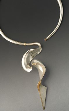 "Necklace | Dayne Sislen. ""Sylph""  Sterling silver, 18k gold. Handformed."