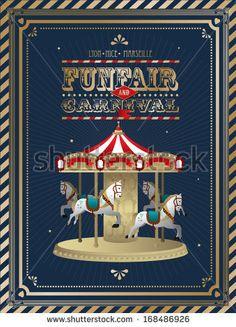 vintage fun fair/carnival carousel template vector/illustration - stock vector