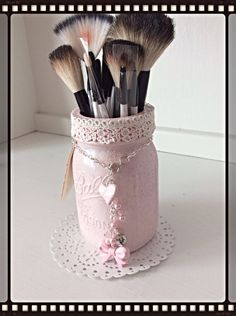Charming Makeup Caddy Pink Altered Mason Jar $24