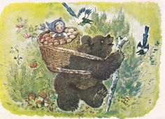 "E. Charushin ""Masha and the Bear"" Postcard -- 1958, Leningrad Artist Publ. Condition 9/10"