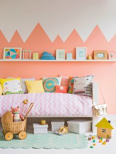 Gorgeous wall stickers + adorable cushions and prints = cute-as-a-button girls rooms! ~ 10 Gorgeous Girls Rooms | Tinyme Blog
