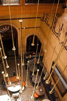 // Moroccan courtyard: brass and inscription inspiration.