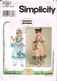"7087 Sewing Pattern Girls ""Sunrise Designs"" Dress 5 6 6X"