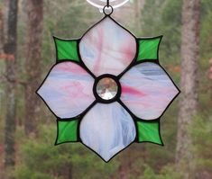 Stained Glass Suncatcher Victorian Flower in Pink White