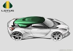 The green roof on an otherwise plain sketch of a Lotus concept design is a striking use of colour, which really draws attention to the roof.