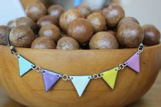 Enamel bunting flag necklace  Silver by MeggSays on Etsy, $40.00