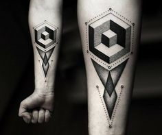 Wow! Geometric 3D tattoo