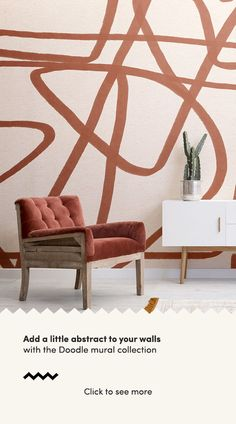 Create a bold feature wall that will add a unique aspect to your interior theme with the Bold Terracotta and Beige Doodle Abstract Wallpaper Mural. Standard Wallpaper, Normal Wallpaper, How To Hang Wallpaper, Drawing Wallpaper, Blue Geometric Wallpaper, Modern Wallpaper, Colorful Wallpaper, Cool Wallpaper, Abstract Lines