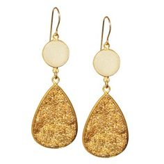 You Rock My World Earrings in Gold Druzy & White Druzy & 14k Gold     Fabulous statement earrings, Druzy is formed when tiny sparkling quartz crystals form on a piece of agate creating this incredible piece of natural beauty.    By Chupi
