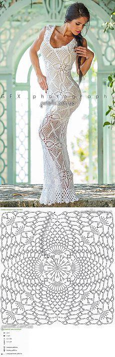 Шикарное платье из квадратных мотивов от Emma O. Схема