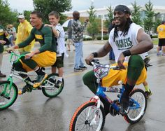 As the Packers enter another year of Training Camp, young fans geared up for a bike ride that happens annually. Every year, youthful Packers fanatics ride their bikes to Ray Nitschke Field to watch the players practice – and hope one of the players will ride back with them at the end of the day. The bike-riding tradition dates back to the Lombardi era.