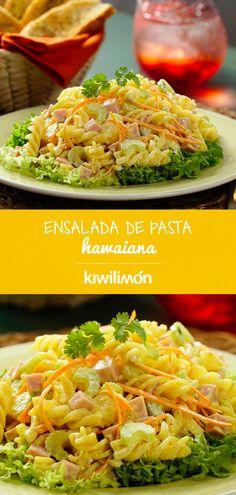 Ensalada de Pasta Hawaiana - Nutritious Tutorial and Ideas Seafood Recipes, Pasta Recipes, Gourmet Recipes, Mexican Food Recipes, Vegetarian Recipes, Cooking Recipes, Healthy Recipes, Vegan Vegetarian, Deli Food