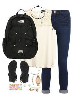 """Exactly what I wore to school today✌️"" by kaley-ii ❤ liked on Polyvore featuring Frame Denim, H&M, The North Face, Chaco, Pura Vida, Kate Spade, Alex and Ani and Lilly Pulitzer"
