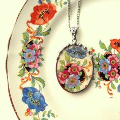 Broken china jewelry necklace pendant antique beautiful blue floral poppy china