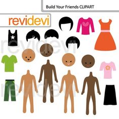 Mix and match clip art set. Build your friends features boys and girls bodies, heads, and clothes. Great for paper doll projects. A fun set for mix and match creations.You might also likeLink-tClip art: DIY paper doll, build your girl (40 graphics)Cute clip art set for teachers and educators.