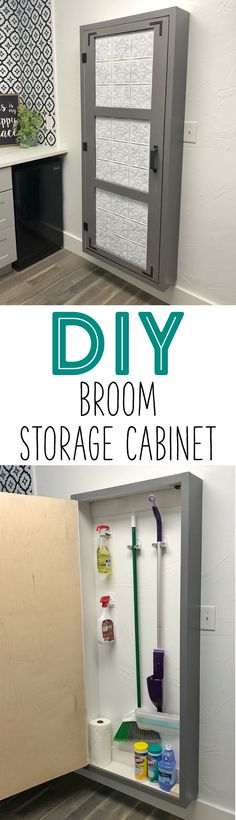 Trendy Diy Storage Cabinet Ideas Home Broom Storage, Utility Storage Cabinet, Diy Storage Cabinets, Kitchen Cabinet Storage, Broom Cabinet, Diy Projects Cans, Diy Furniture Projects, Furniture Plans, Home Projects