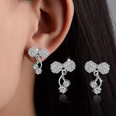 High quality fashion shiny zircon bowknot 925 sterling silver ladies`stud earrings women birthday gift wholesale promotion //Price: $US $4.40 & FREE Shipping //     #hashtag3