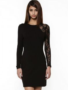 KOOVS Single Lace Sleeve Body Con Dress