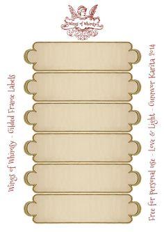 Wings of Whimsy: Gilded Frame Labels Collage Sheet #vintage #ephemera #freebie #printable #label