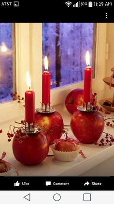 Fabulous Thanksgiving Decorating Ideas with Apples and Candles Centerpieces apples.lovely candle centerpieces or table decorapples.lovely candle centerpieces or table decor Christmas Candles, Noel Christmas, Winter Christmas, Fall Winter, Thanksgiving Table, Thanksgiving Decorations, Christmas Decorations To Make, Fall Table, Thanksgiving Crafts