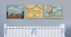 Circus Nursery Playroom 8x10 Prints Set of 3 Personalize with Name balloon