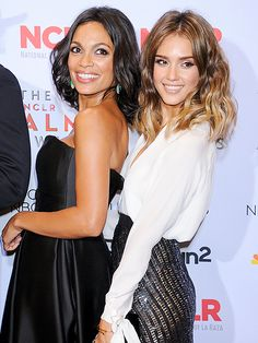 Rosario Dawson and Jessica Alba strike a fabulous pose together during the 2013 NCLA ALMA Awards in Pasadena, Calif., on Friday