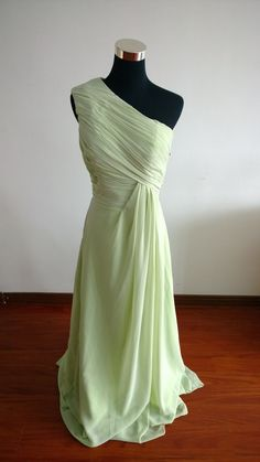 One shoulder mint bridesmaid dress long bridesmaid by FDesigndress