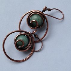 Amazonite Wire Wrapped in Copper Wire Earrings by mese9 on Etsy