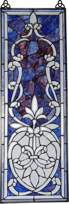 """24/"""" SPARKLING JEWELED STAINED GLASS WINDOW PANEL W// FLARE MISSION COLLECTION"""