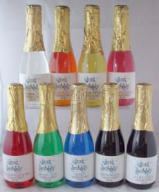 Have a little bubbly every time you bathe with our Champagne Bubble Bath! Each plastic champagne bottle is filled with 8 oz. of highly fragranced bubble bath.  Simply add a bit to your bath, sit back and relax while the bubbles take you to another world. Labels can be personalized for bridal shower, baby shower, wedding or party favors.  These make a great and practical favor for any event.
