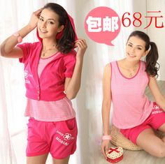 Summer new arrival 2013 women's casual vest shorts outerwear lounge 100% cotton knitted piece set red $27.27