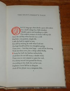 1950 - Book from Allen and Richard Lane  The Nun's Priest's Tale by Chaucer - A new translation by Nevill Coghill with wood engravings by Lynton Lamb.  1000 copies printed by R&R Clarke of Edinburgh. 9.75 inches by 6 inches.  32 pages bound in quarter linsom vellum stamped in gilt with decorative boards, top edge gilt.