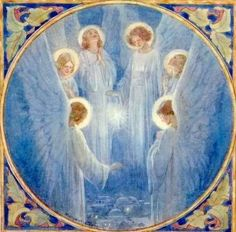 Angels over Bethlehem by Margaret W Tarrant (English Artist, 1888-1959)