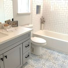 I love a good master bathroom remodel but a hall bathroom should have just as much attention to detail. Guest Bathroom Remodel, Restroom Remodel, Bath Remodel, Home Renovation, Home Remodeling, Bathroom Renovations, Large Bathrooms, Modern Bathroom, Guest Bathrooms