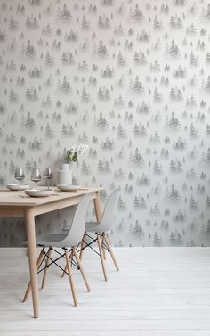 Birch Tree Wallpaper, Forest Wallpaper, Winter Wallpaper, Grey Wallpaper, Childrens Shop, World Map Wallpaper, Warm And Cool Colors, Christmas Decorations, Table Decorations