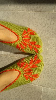 Llight green- orange leaf,Socks/slippers Turkish folklore are hand knitted from acrylic yarns. They are sized 38 for Turkey 5 for UK 7 for US.