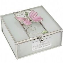 Personalised Trinket Box - Glass Butterfly