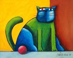 Projeto Gustavo Rosa - Gato verde e azul com bola rosa