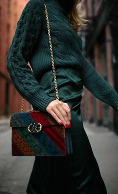 TREND MEMO: Jewel Tones // Cable-knit emerald green sweater, ruched satin emerald green midi skirt, faux fur jacket, black sock boots, multi jewel-toned handbag {Theory, MM6 Maison Margiela, Anthropologie, Tory Burch, Stuart Weitzman, classic style, classy dressing, fall trends, fashion blogger, wear to work, jewel tones}
