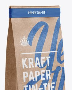 Kraft Paper Bag w/ a Paper Tin-Tie Mockup - Halfside View (Close-Up)
