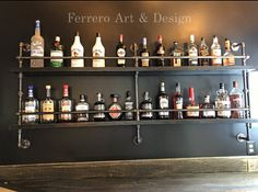 Check out our industrial decor selection for the very best in unique or custom, handmade pieces from our shops. Industrial Shelving, Rustic Shelves, Industrial Basement Bar, Industrial Pipe, Bar Shelves, Liquor Shelves, Shelf, Floating Shelves, Basement Bar Designs